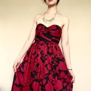 Tibi Red Ink Strapless Floral Dress, Sz 0